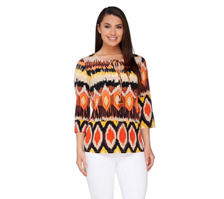 Susan Graver Liquid Knit Aztec Print Split Neck Tunic