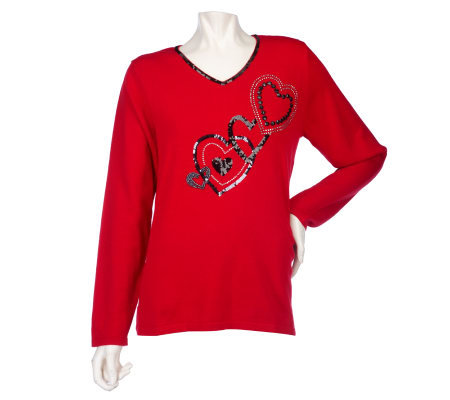 Quacker Factory Midnight Love Heart Embellished V-Neck Sweater