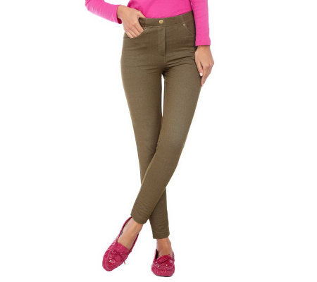 Isaac Mizrahi Live! Pull-On Knit Leggings with Faux Button
