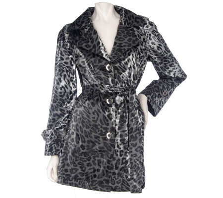 Dennis Basso Water Resistant Leopard Print Jacket with Removable Belt