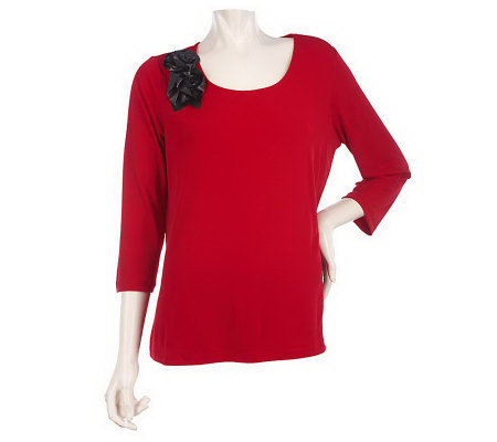 Susan Graver Liquid Knit Scoop Neck Top w/Faux Leather Rosettes