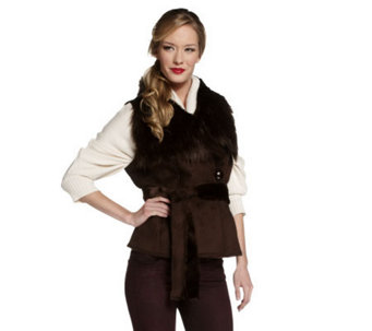 Luxe Rachel Zoe Faux Shearling Belted Vest with Collar - A220299