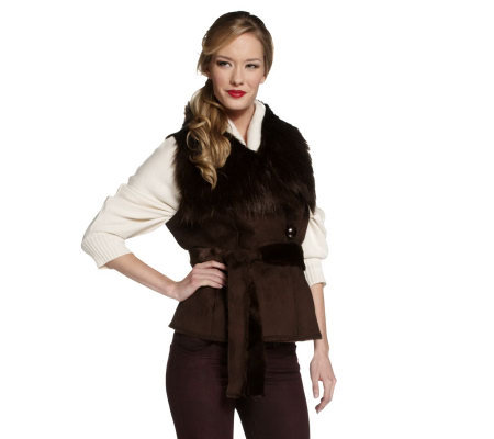 Luxe Rachel Zoe Faux Shearling Belted Vest with Collar