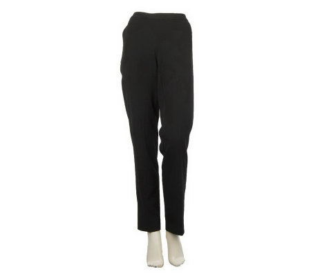 Dennis Basso Slim Leg Trouser Pants with Pockets and Side Zip