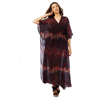 Luxe Rachel Zoe Sheer V-Neck Printed Caftan with Winged Sleeves