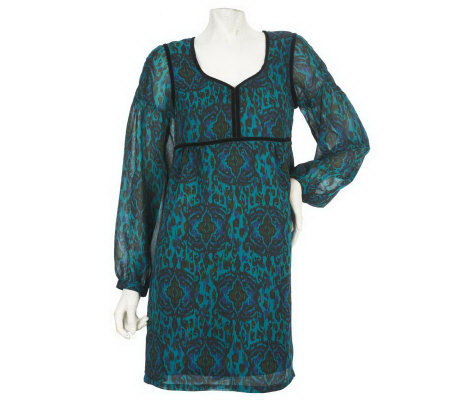 Nicole Richie Collection Ikat Print Tunic with Velvet Trim