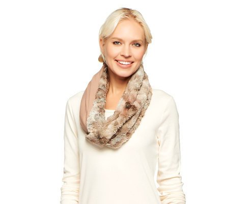 LOGO by Lori Goldstein Faux Fur Snood with Knit Jersey Lining