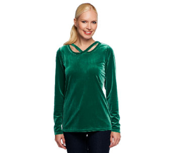 Liz Claiborne New York Knit Velvet Top with Cut-out Detail - A237799