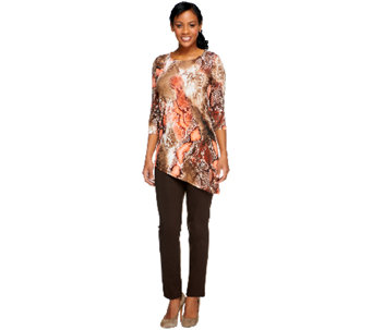 Women with Control Petite Printed Tunic and Slim Pants Set - A240499