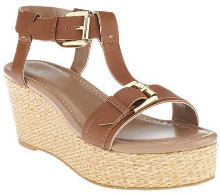 G.I.L.I Leather T-strap Platform Wedge Sandals - Susanne