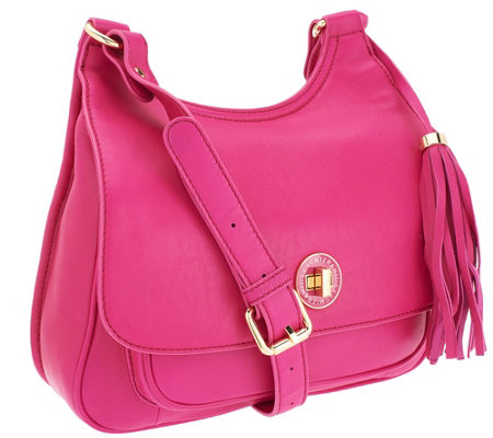 Isaac Mizrahi Live! Bridgehampton Lamb Leather Saddle Bag