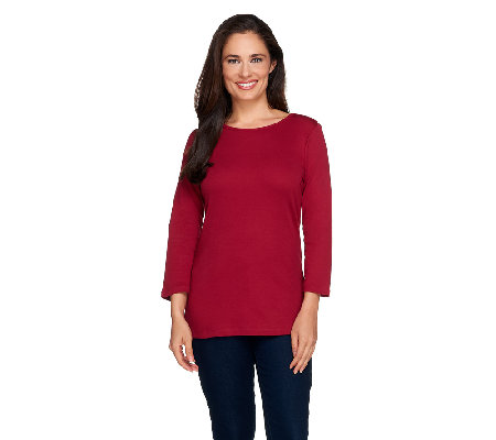 Liz Claiborne New York Essentials 3/4 Sleeve Crew Neck Tee