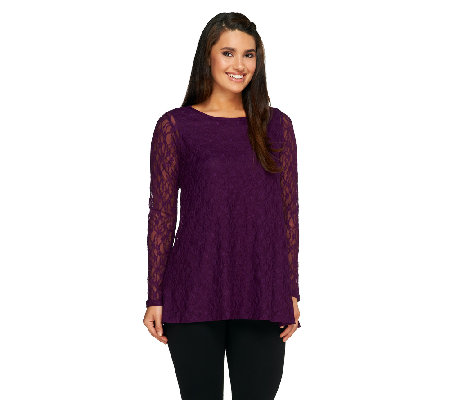 Joan Rivers Lace Swing Top with High-Low Hem