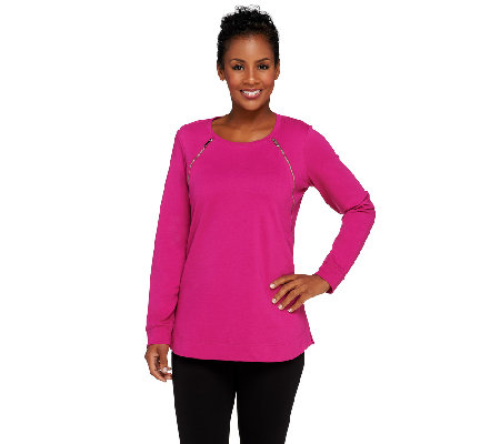 Denim & Co. Active French Terry Tunic w/ Zipper Detail