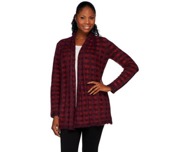 Isaac Mizrahi Live! Textured Plaid Sweater Coat - A259599