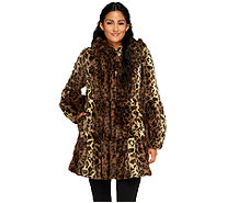 Dennis Basso Platinum Collection Tiered Faux Coat with Hood - A259799