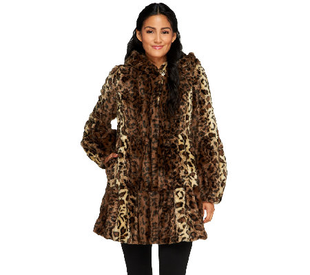 Dennis Basso Platinum Collection Tiered Faux Coat with Hood