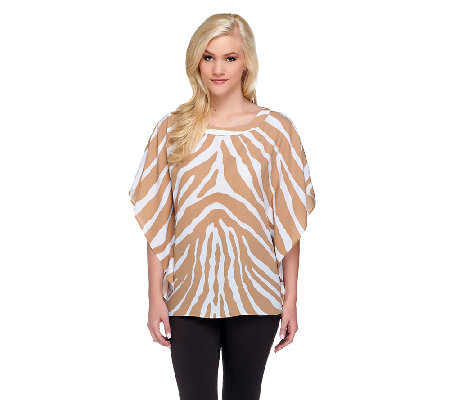 """As Is"" Susan Graver Printed Scarf Top with Bateau Neckline"
