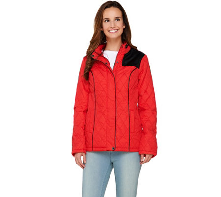 Dennis Basso Water Resistant Quilted Jacket with Zip Out Hood