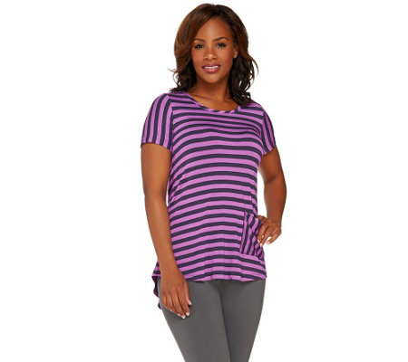 LOGO by Lori Goldstein Short Sleeve Stripe Top with Back Pleat