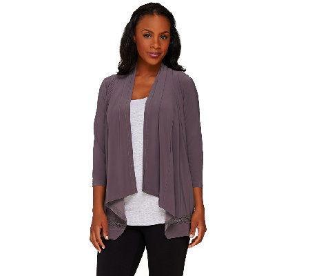 Joan Rivers Drape Front Knit Cardigan with Crochet Detail