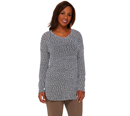 Lisa Rinna Collection Long Sleeve Textured Knit Tunic with Cami