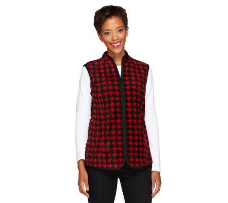 """As Is"" Susan Graver Printed Polar Fleece Houndstooth Vest"