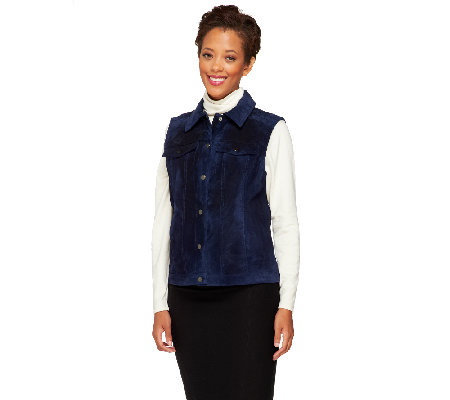 """As Is"" Denim & Co. Washable Suede Denim Style Vest"