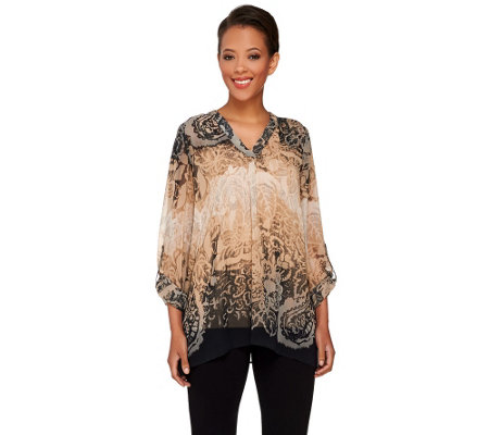 Susan Graver Printed Sheer Chiffon Tunic with Roll Tab Sleeves