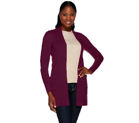 Isaac Mizrahi Live! 2-Ply Cashmere Open Front Cardigan