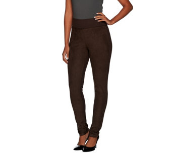 LOGO by Lori Goldstein Ponte Knit Pants with Faux Suede Front - A267899