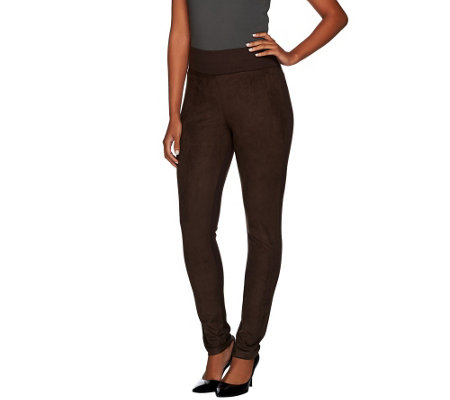 LOGO by Lori Goldstein Ponte Knit Pants with Faux Suede Front