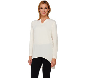 Susan Graver Feather Weave Long Sleeve Shirt with Back Buttons - A267999