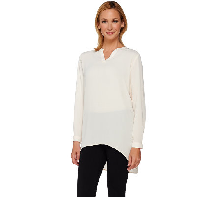 Susan Graver Feather Weave Long Sleeve Shirt with Back Buttons