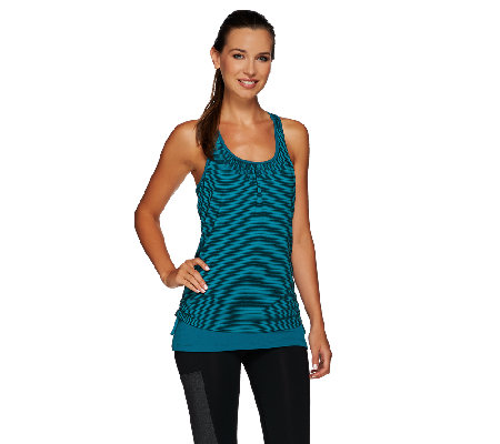 cee bee CHERYL BURKE Striped Layered Tank with Side Ruching