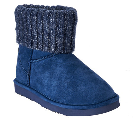 Lamo Suede Water Resistant Boots with Sweater Cuff - Empire