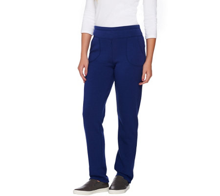 Denim & Co. Active Jersey Fleece Lined Pants with Pockets