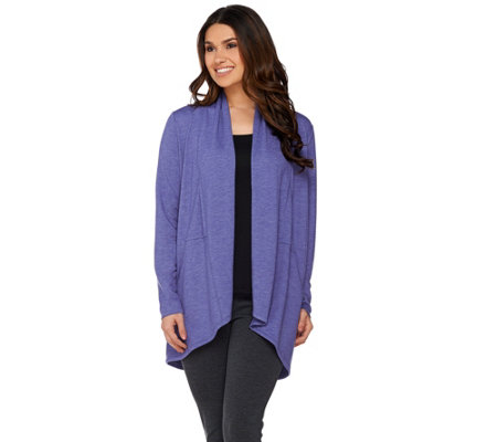 LOGO Lounge by Lori Goldstein French Terry Cardigan with Seaming Detail