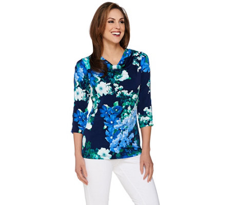 Susan Graver Printed Liquid Knit Top with Cutout Sleeves