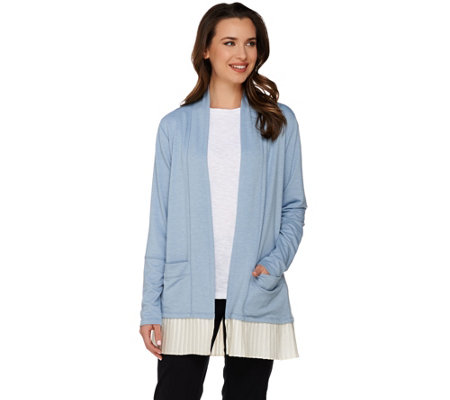 LOGO Lounge by Lori Goldstein French Terry Cardigan with Pleated Trim