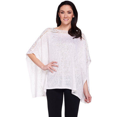 Joan Rivers Lightweight Poncho Top with Crochet Detail