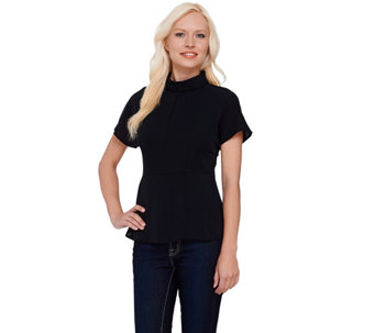 """As Is"" G.I.L.I. Short Sleeve Roll Collar Blouse W/ Seam Detail - A277299"
