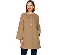 Dennis Basso Caviar Crepe Button Front Long Coat - A278699