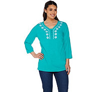 Denim & Co. 3/4 Sleeve Gauze Peasant Blouse w. Tank - A278999