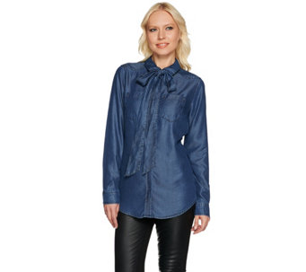 Isaac Mizrahi Live! TRUE DENIM Detachable Tie Neck Blouse - A279899