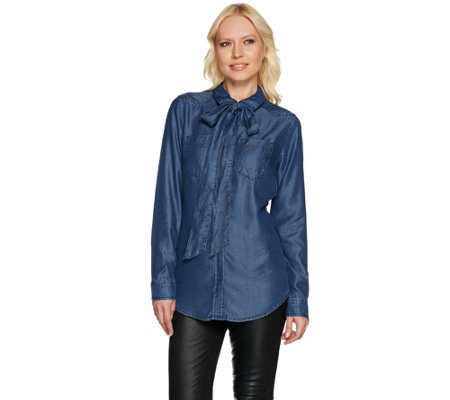 Isaac Mizrahi Live! TRUE DENIM Detachable Tie Neck Blouse