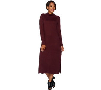 H by Halston Silk-Cashmere Blend Turtleneck Dress - A279999