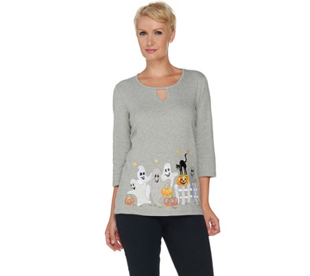 Quacker Factory Happy Haunting Embroidered 3/4 Sleeve T-shirt