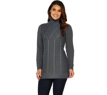 Susan Graver Cotton Acrylic Cable Sweater with Turtleneck - A282099