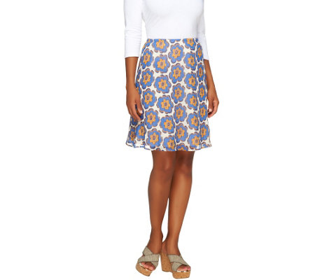 """As Is"" Isaac Mizrahi Live! Floral Print Knee Length Skirt"